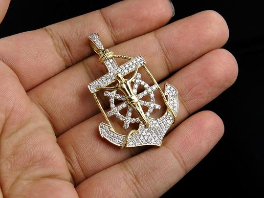 Jewelry Unlimited Men's 10K Yellow Gold Genuine Diamond Anchor Crucified Jesus Cross 1.8 Image 2
