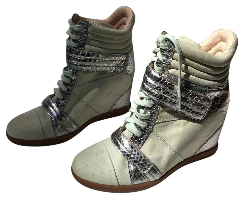07ab3915232 Boutique 9 Pale Green  Silver Nevan Hidden Wedge Leather Ankle Sneakers  Sneakers Size US
