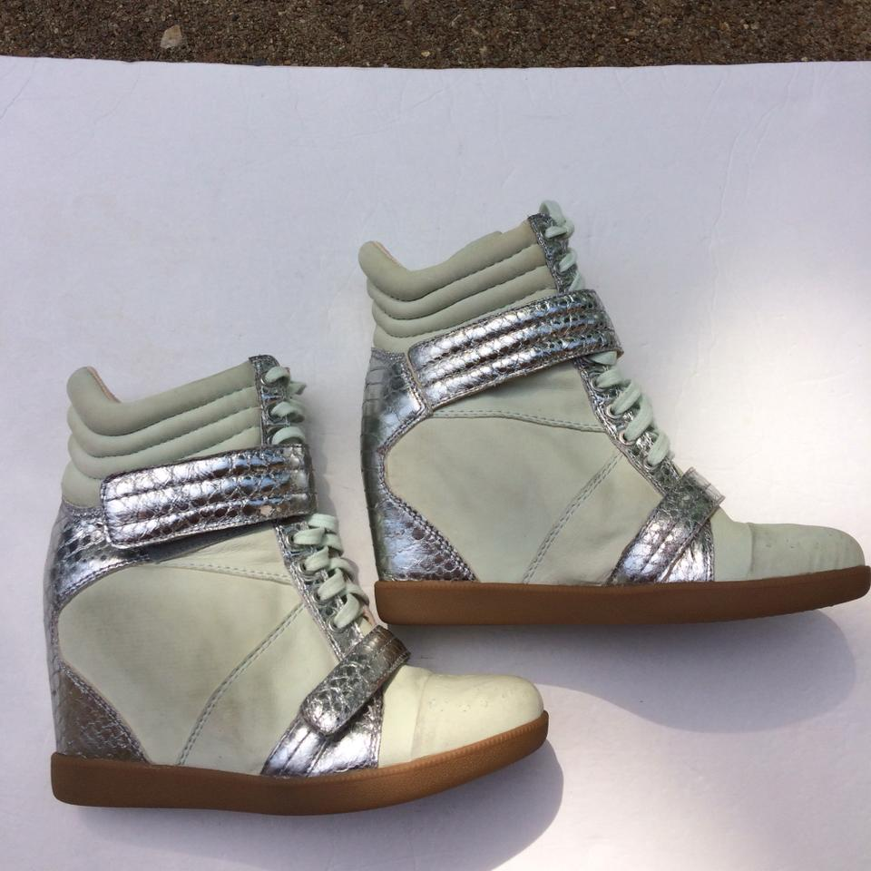 5e761530853 Boutique 9 Pale Green  Silver Nevan Hidden Wedge Leather Ankle Sneakers  Sneakers Size US Regular (M