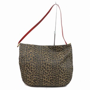 Fendi Mint Condition Xl Hobo Gold Limited Edition Tote in leopard print canvas in shades of brown and red leather