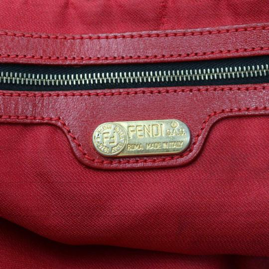 Fendi Mint Condition Xl Hobo Canvas Leather & Gold Limited Edition Tote in leopard print and red Image 10
