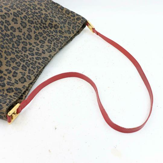 Fendi Mint Condition Xl Hobo Canvas Leather & Gold Limited Edition Tote in leopard print and red Image 2