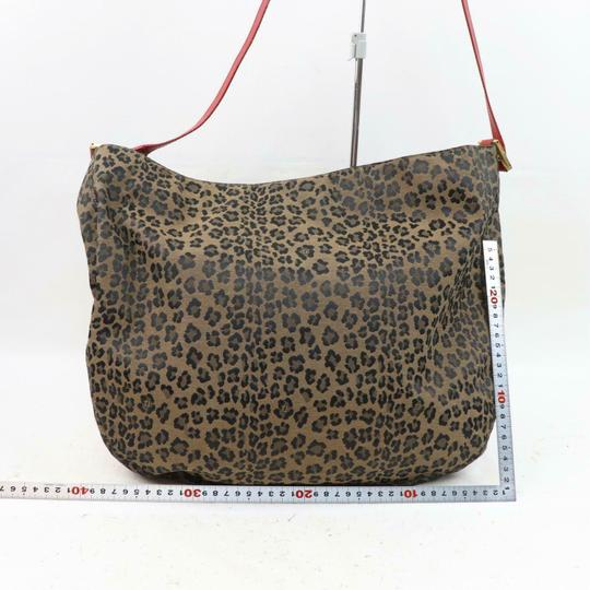 Fendi Mint Condition Xl Hobo Canvas Leather & Gold Limited Edition Tote in leopard print and red Image 5