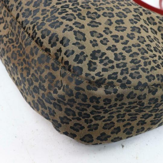 Fendi Mint Condition Xl Hobo Canvas Leather & Gold Limited Edition Tote in leopard print and red Image 8