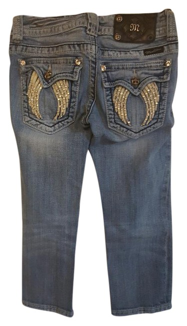 Item - Blue Light Wash With Wings On Pockets Capri/Cropped Jeans Size 25 (2, XS)