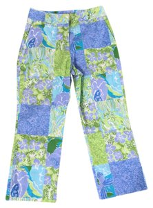 Lilly Pulitzer 4p Pants Lion Capris blue green