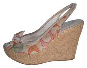 Coach Peep Toe Espadrilles Straw Logo multi-color Wedges