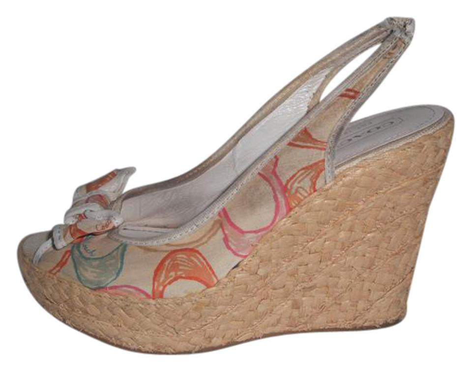 5992760d1ffb Coach Multi-color Grace Signature Logo Peep Toe Espadrille Wedges ...