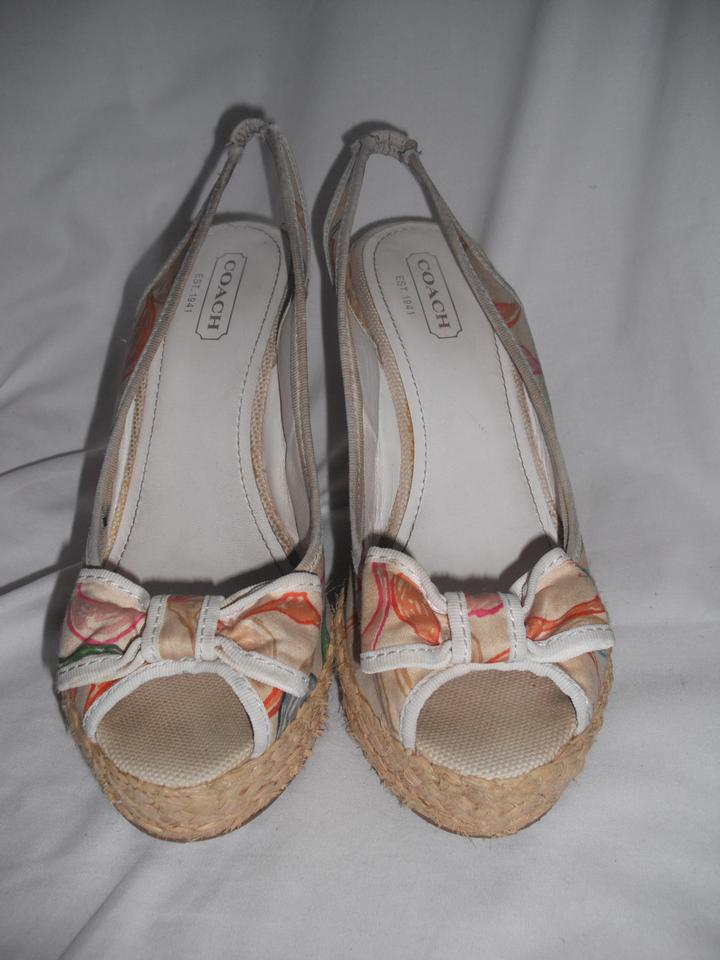 553d899e611c Coach White Multi-color Peep Toe Espadrilles Straw Logo multi-color Wedges  Image. 12345678910