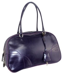 Prada Chrome Hardware Bowling Style Signature Piece Excellent Vintage Great Everyday Satchel in Purple