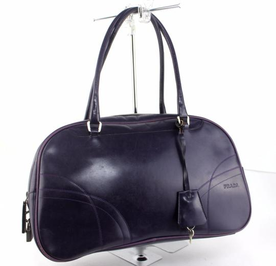 Prada Chrome Hardware Bowling Style Signature Piece Excellent Vintage Great Everyday Satchel in Purple Image 1