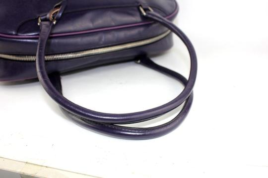 Prada Chrome Hardware Bowling Style Signature Piece Excellent Vintage Great Everyday Satchel in Purple Image 3
