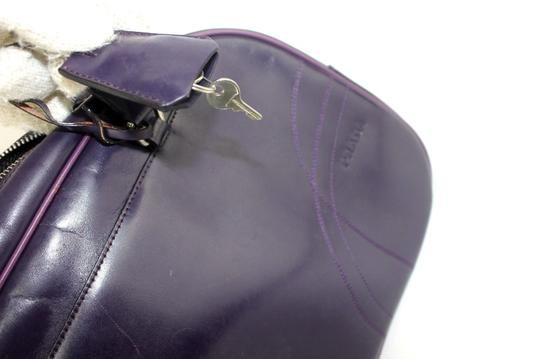 Prada Chrome Hardware Bowling Style Signature Piece Excellent Vintage Great Everyday Satchel in Purple Image 8
