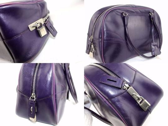 Prada Chrome Hardware Bowling Style Signature Piece Excellent Vintage Great Everyday Satchel in Purple Image 9