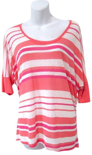 Michael Stars Coral/Pink Dolman Sleeve Striped Tee Shirt Size OS (one size) Michael Stars Coral/Pink Dolman Sleeve Striped Tee Shirt Size OS (one size) Image 1