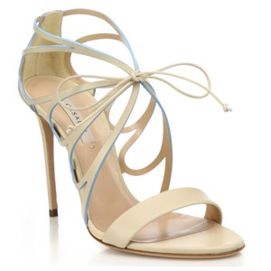 Casadei Vittoriale Butterfly Cut-out Leather Natural Sandals