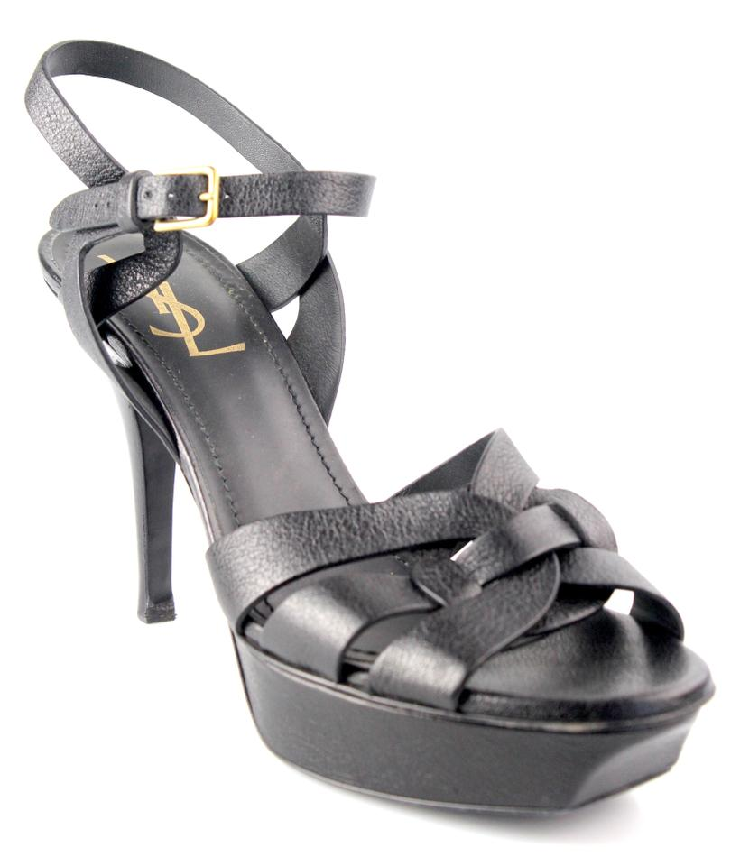 beb10902787 Saint Laurent Black Tribute Ysl Leather Platform Sandals. Size  US 7.5  Regular (M ...