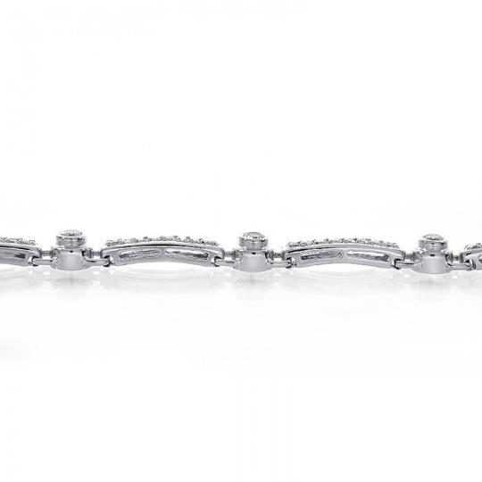 Avital & Co Jewelry 2.00 Carat Diamond Fancy Shaped Link Bracelet 14K White Gold Image 3