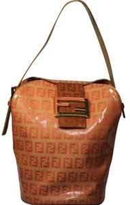 Fendi Bucket/Satchel Style Rare Color Combo Mint Vintage Wallet Available Great Pop Of Color Satchel in dark/light orange small F logo print coated canvas & ora leather