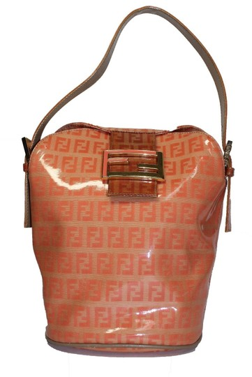 Fendi Bucket/Satchel Style Rare Color Combo Mint Vintage Wallet Available Great Pop Of Color Satchel in dark/light orange small F logo print coated canvas & ora leather Image 1