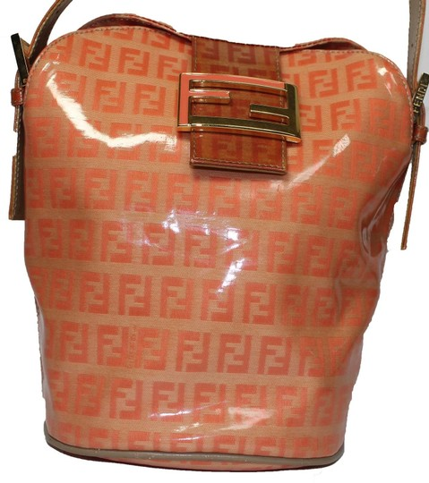 Fendi Bucket/Satchel Style Rare Color Combo Mint Vintage Wallet Available Great Pop Of Color Satchel in dark/light orange small F logo print coated canvas & ora leather Image 2