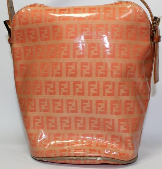 Fendi Bucket/Satchel Style Rare Color Combo Mint Vintage Wallet Available Great Pop Of Color Satchel in dark/light orange small F logo print coated canvas & ora leather Image 3