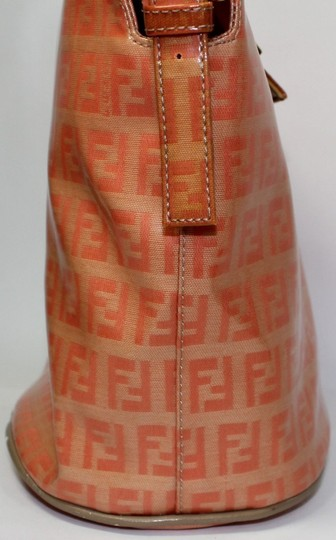 Fendi Bucket/Satchel Style Rare Color Combo Mint Vintage Wallet Available Great Pop Of Color Satchel in dark/light orange small F logo print coated canvas & ora leather Image 4