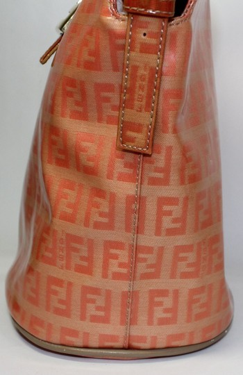 Fendi Bucket/Satchel Style Rare Color Combo Mint Vintage Wallet Available Great Pop Of Color Satchel in dark/light orange small F logo print coated canvas & ora leather Image 5
