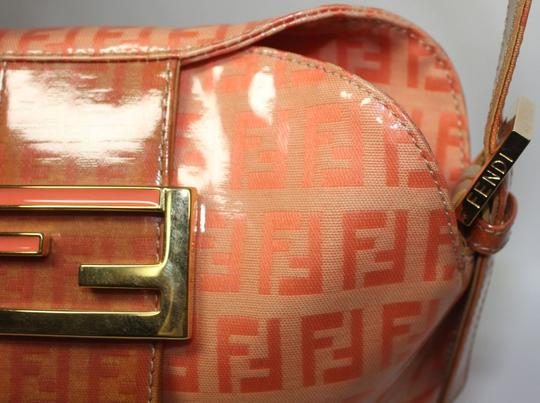 Fendi Bucket/Satchel Style Rare Color Combo Mint Vintage Wallet Available Great Pop Of Color Satchel in dark/light orange small F logo print coated canvas & ora leather Image 6