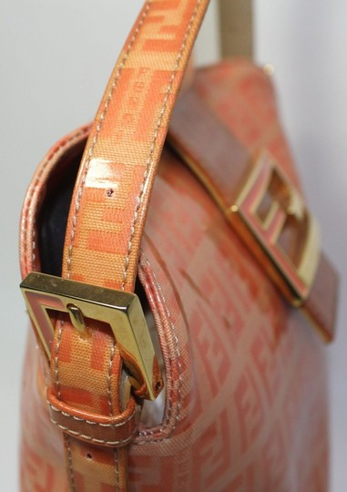 Fendi Bucket/Satchel Style Rare Color Combo Mint Vintage Wallet Available Great Pop Of Color Satchel in dark/light orange small F logo print coated canvas & ora leather Image 9