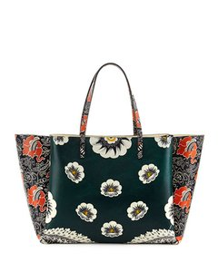 Valentino Tote in green red mixed floral