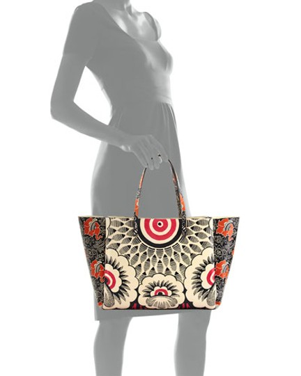 Valentino Tote in green red mixed floral Image 2