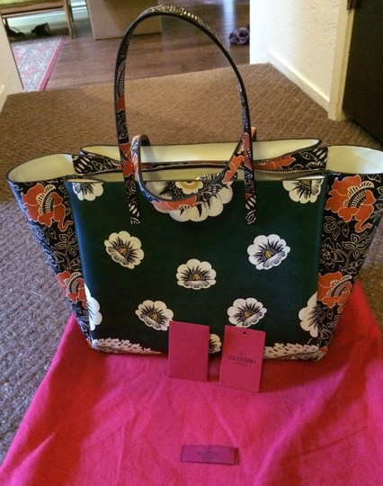 Valentino Tote in green red mixed floral Image 3