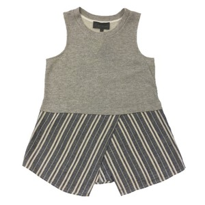 3f5610f72d28a2 Anthropologie Sleeveless Striped Cotton Polyester Linen Top GREY  BLUE   IVORY