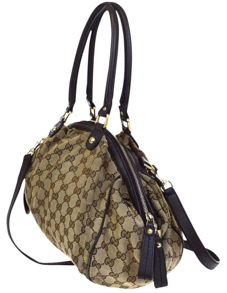 5153d9b7eb1c Gucci Shoulder Bag Hobo Gg Pattern 2way Canvas Leather Brown Italy ...
