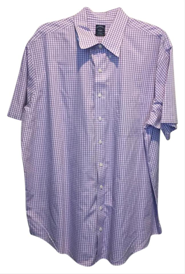Brooks brothers purple white 75517 mens purple white check for Purple and white checked shirt