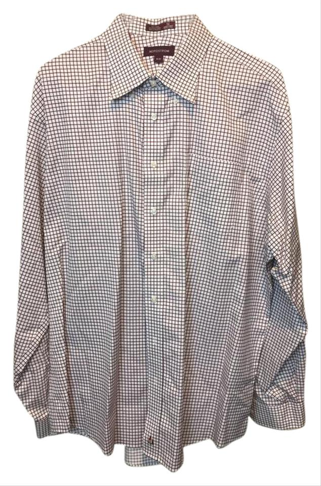 Nordstrom White Burgandy 75517 Mens Check Button Front