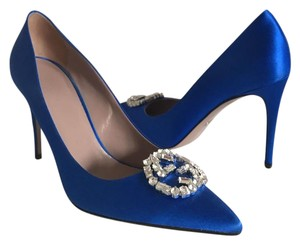 Gucci Ringstones Crystal Jewelred Blue Pumps