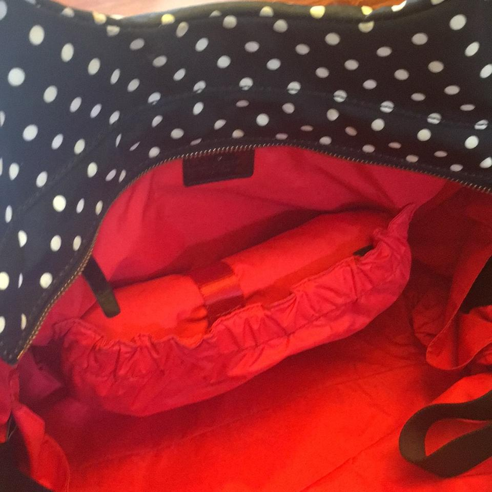 Kate Spade Stevie Black And White Polka Dot With Red Interior Nylon Diaper Bag 72 Off Retail