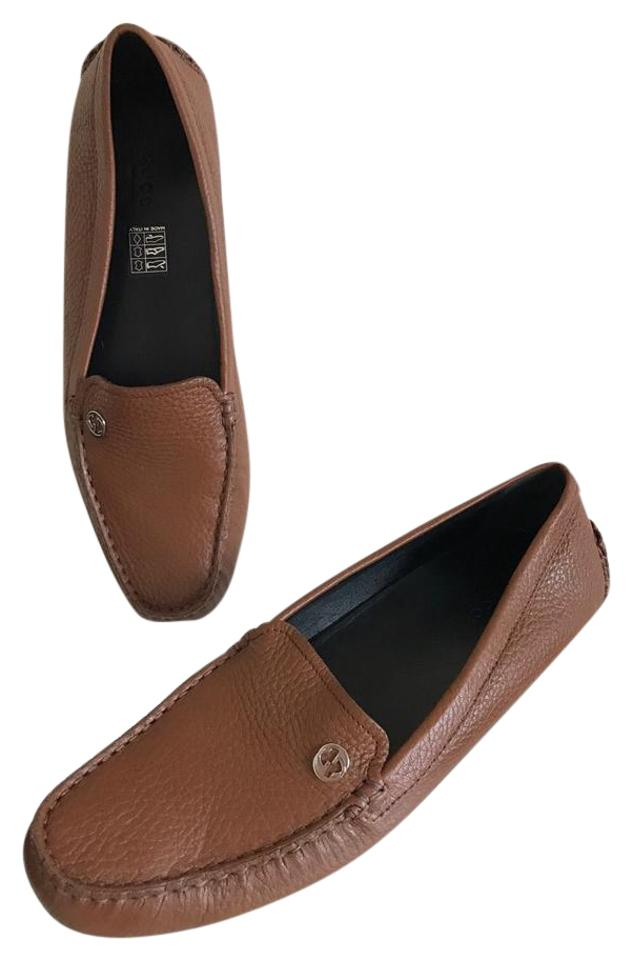 ec828a5502d Gucci Brown Tan Leather Loafer Driving Moccasin 38.5   Rare Flats ...