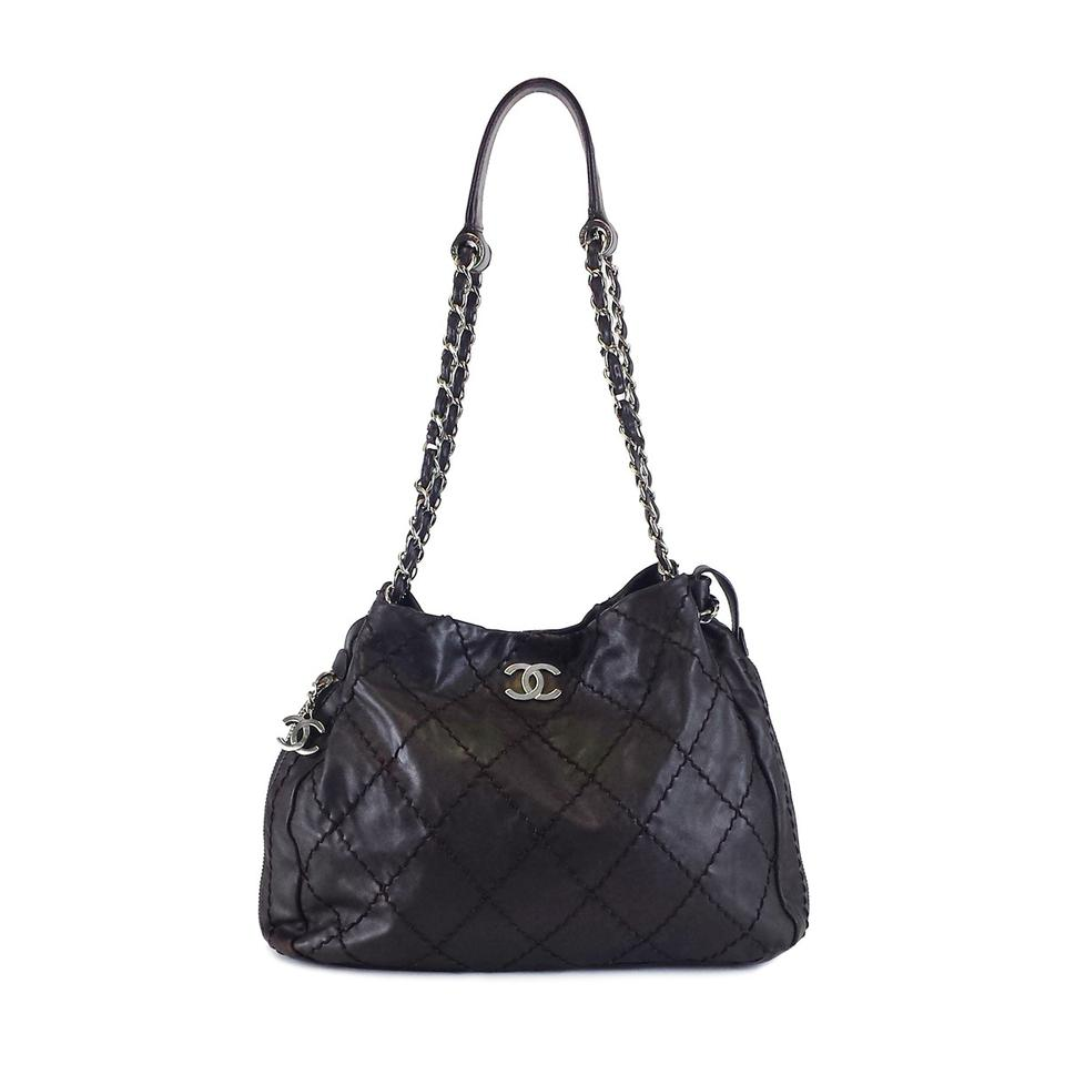 Chanel Leather Stitched Expandable Zip Around Tote in Brown Image 0 ... d8a2df33eacf9