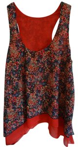 Xhilaration Top orange w/blues, cream, red, green, yellow design