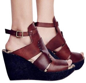 Free People Sandal Leather Mahogany Wedges