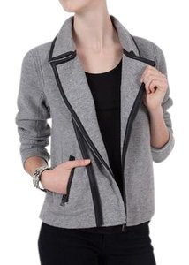 Rag & Bone Biker Adrienne Grey Wool Sweater Jacket