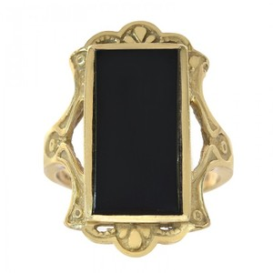 Avital & Co Jewelry 14K Yellow Gold Black Onyx Women's Ring