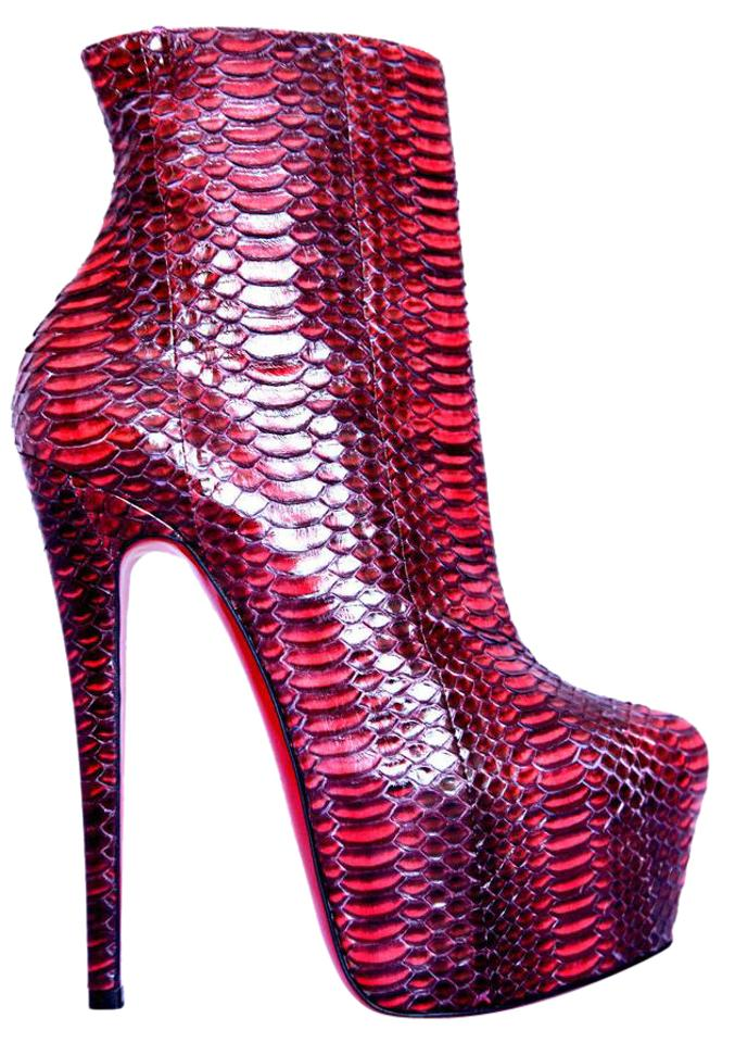 7e4352869c0d Christian Louboutin Pigalle Strass Spikes Studs Thigh High Ankle Red Boots  Image 0 ...