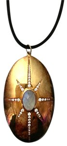 Argento Vivo 18k goldplated sterling silver oval pendant
