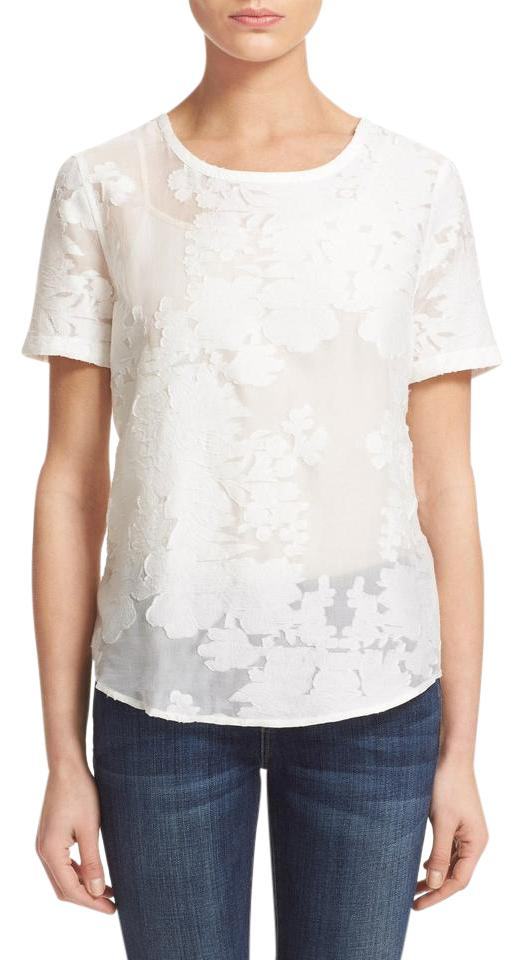 Equipment white nwot 39 riley 39 fil coupe floral cotton silk for Cotton silk tee shirts