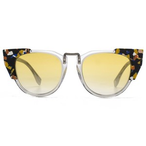 6890f9febc4 Fendi Yellow New Floral Galassia Ff0074 S Lens Cat Eye Sunglasses ...