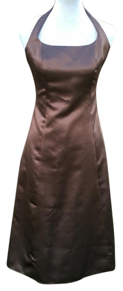 After Six Brown Nordstrom Halter Midi Mid Length Formal Dress Size 8